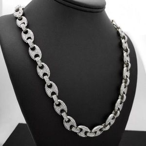 Iced Out Gucci Mariner White Gold Tone Necklace